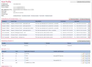 Screenshot of a FMC host profile.