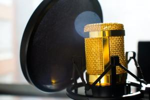 Close Up Photo of Gold-colored and Black Condenser Microphone