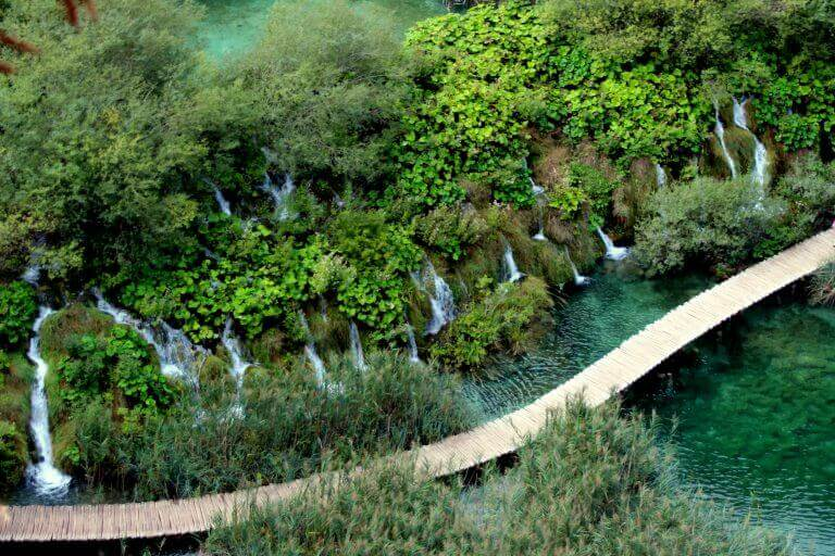 Looking down over the wooden walkways and waterfalls of Plitvice National Park, Croatia