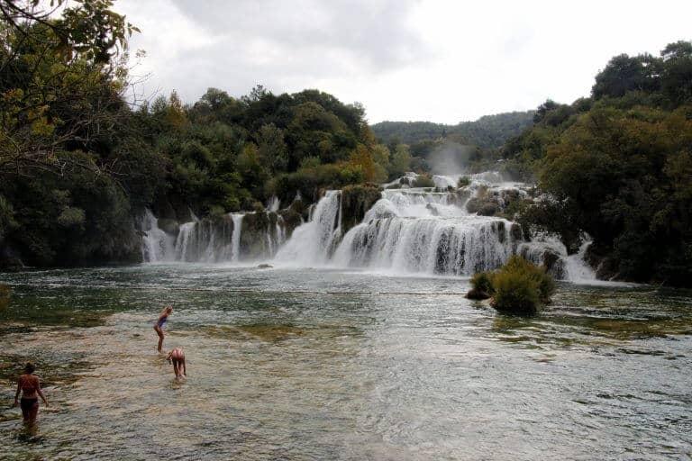 Krka National Park famous swim zone by the waterfalls in Croaita