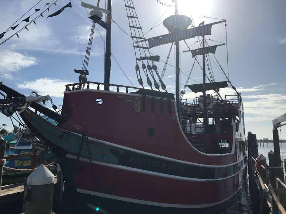 Pirate Boat docked in harbor
