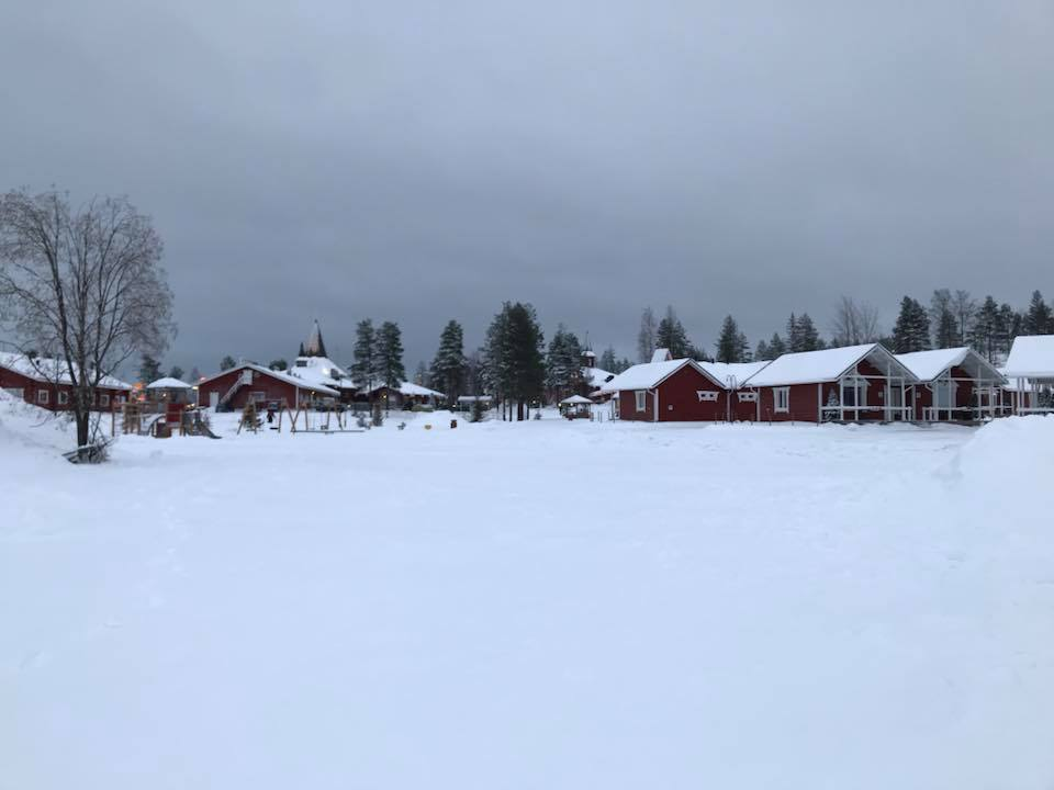 View of the Santa Claus Holiday Village blanketed in snow