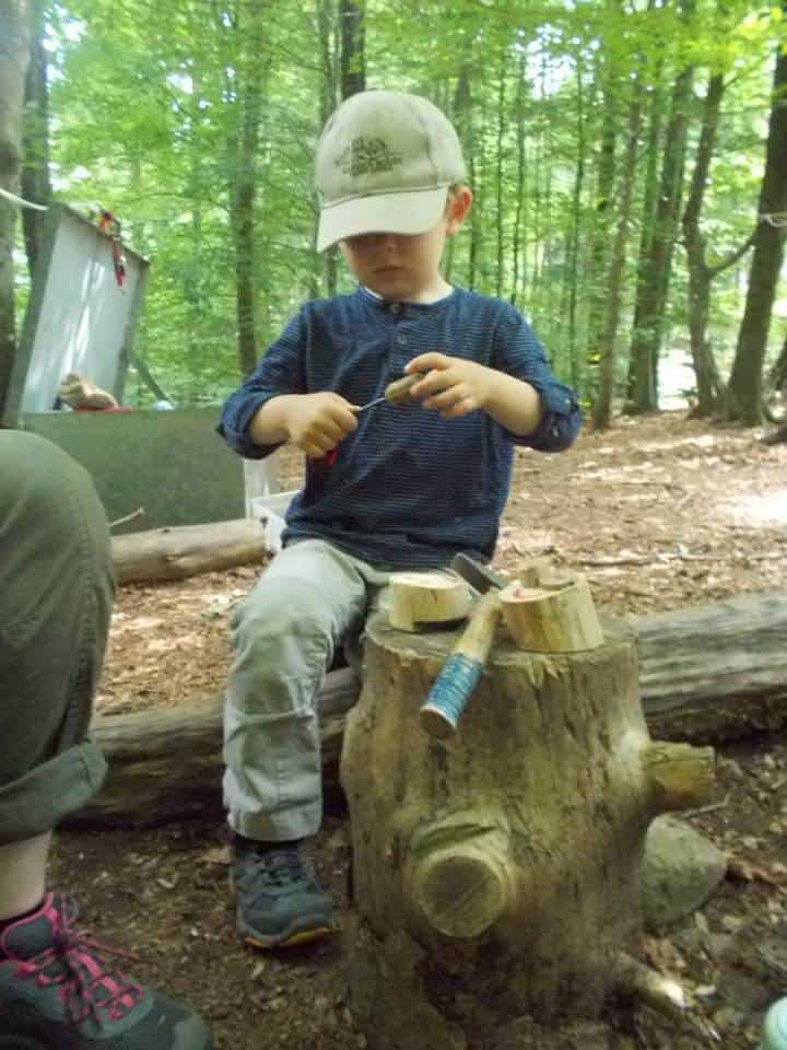 Little boy in the woods using tools on a stump in the forest.