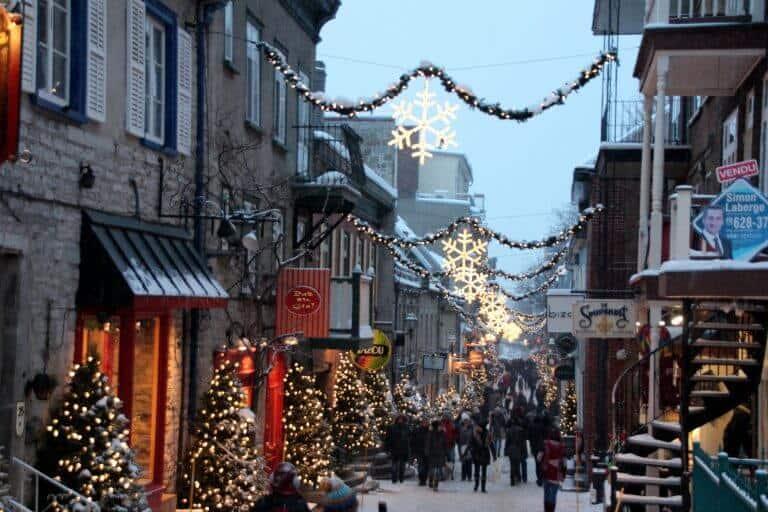 Christmas wonderland Petit-Champlain in Old Quebec City Canada