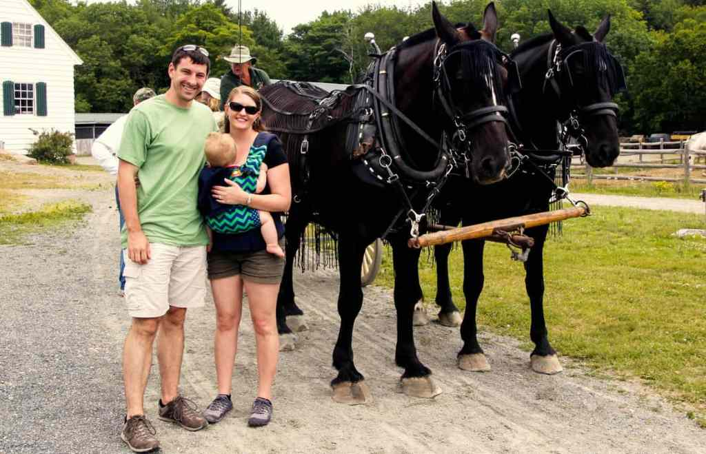A couple with a baby standing near a horse carriage with two horse in Acadia National Park in Maine