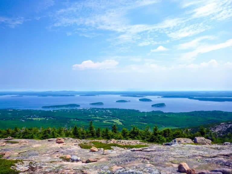 Views from Cadillac Mountain overlooking the islands near Acadia National Park in Maine