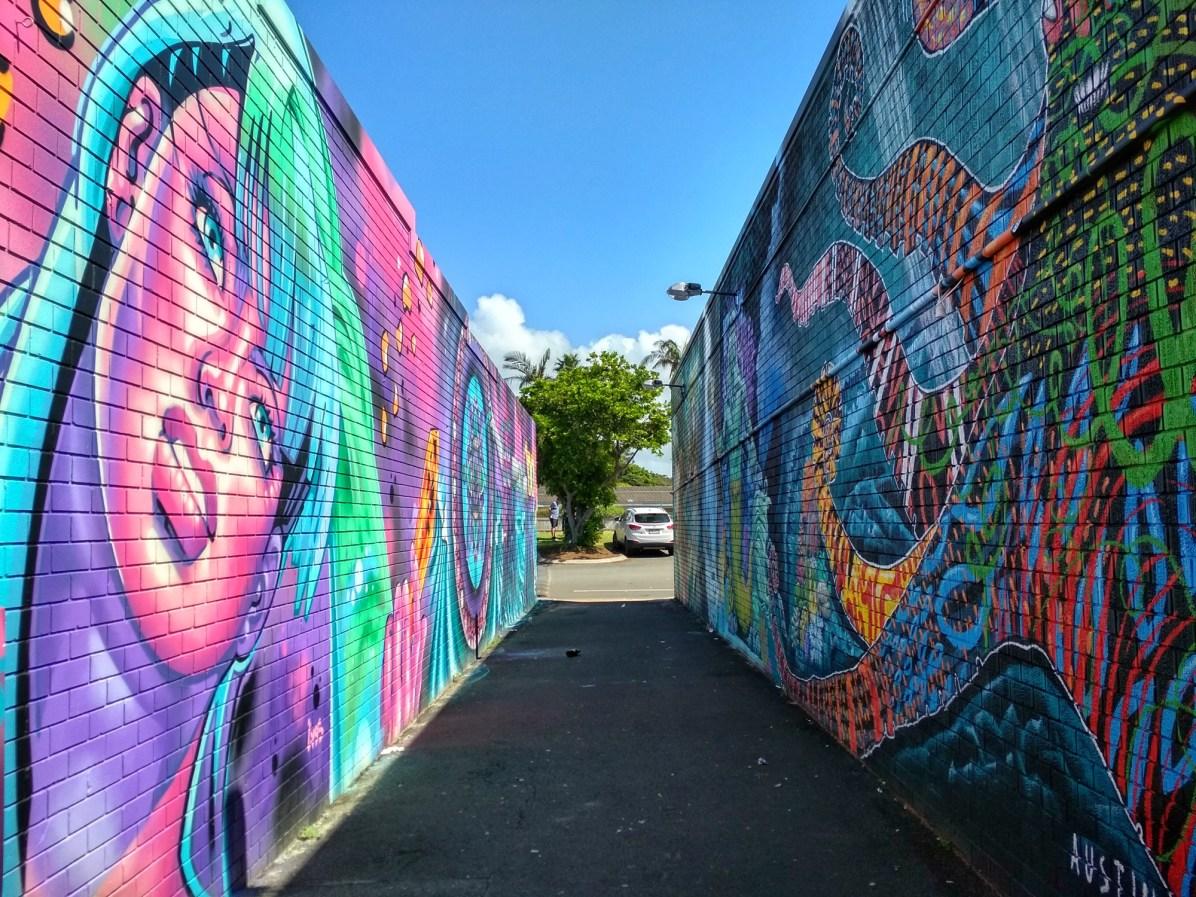 Cool lane with graffiti