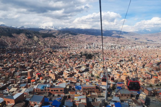 La Paz view from a cable car