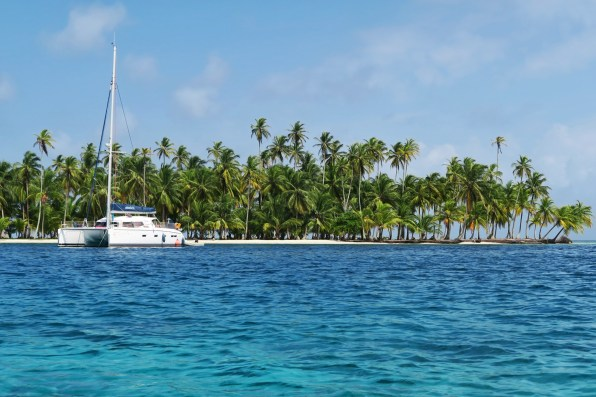 A catamaran anchored in San Blas