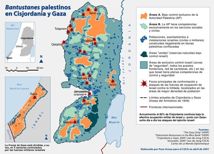 Bantustanes palestinos en Gaza y Cisjordania