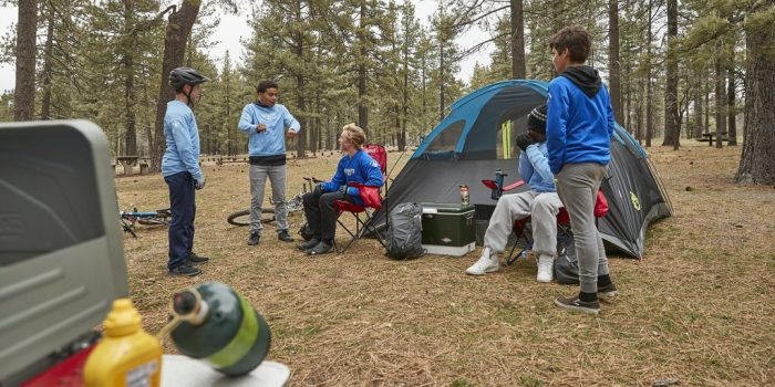 Camping Scouts by tent