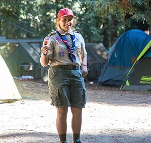 Kylie Seufert on Scouting campout
