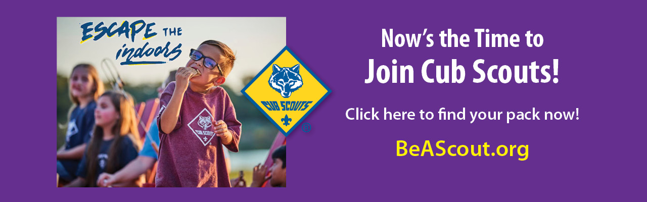 Purple Join Cub Scouts! banner