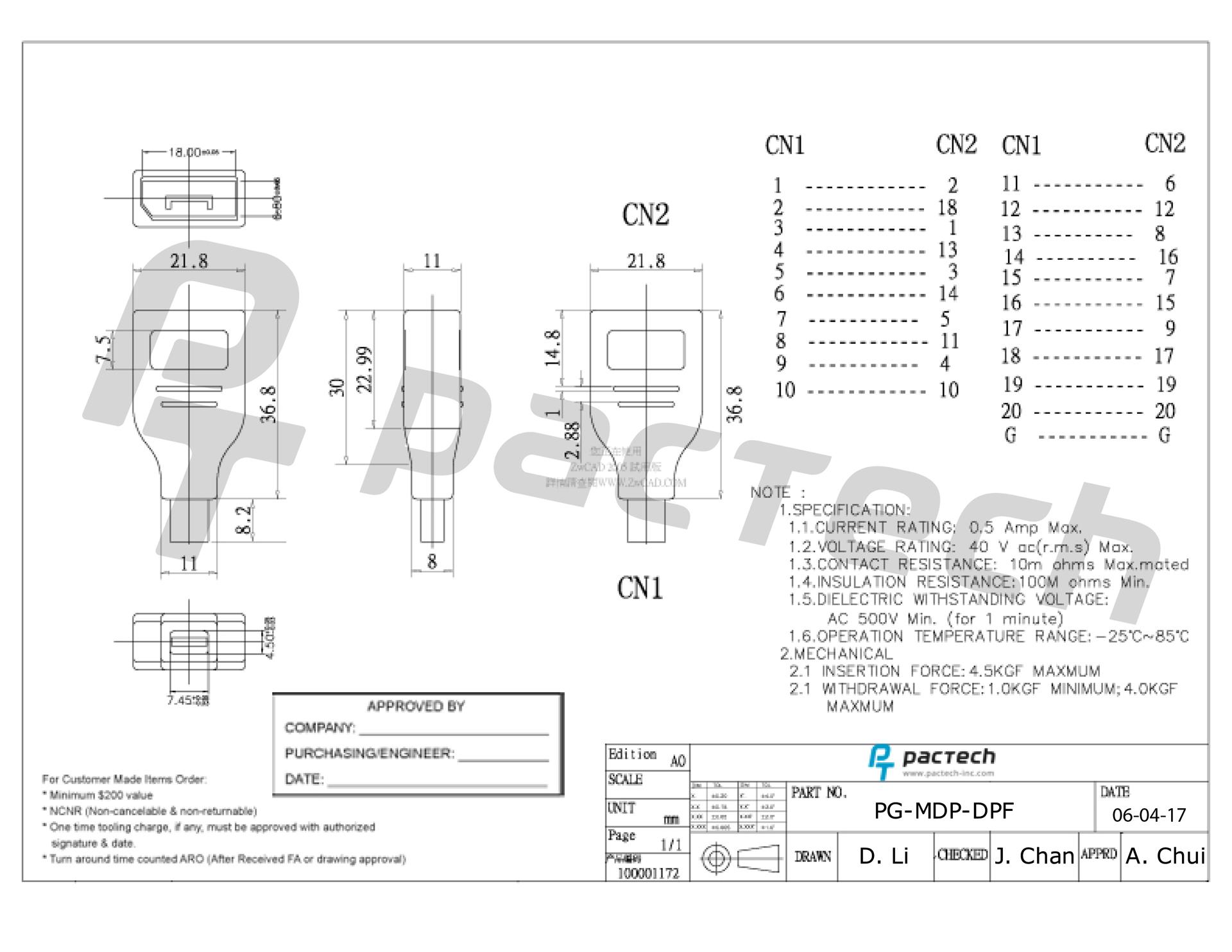 Mini Displayport Male To Displayport Female Adapter Black