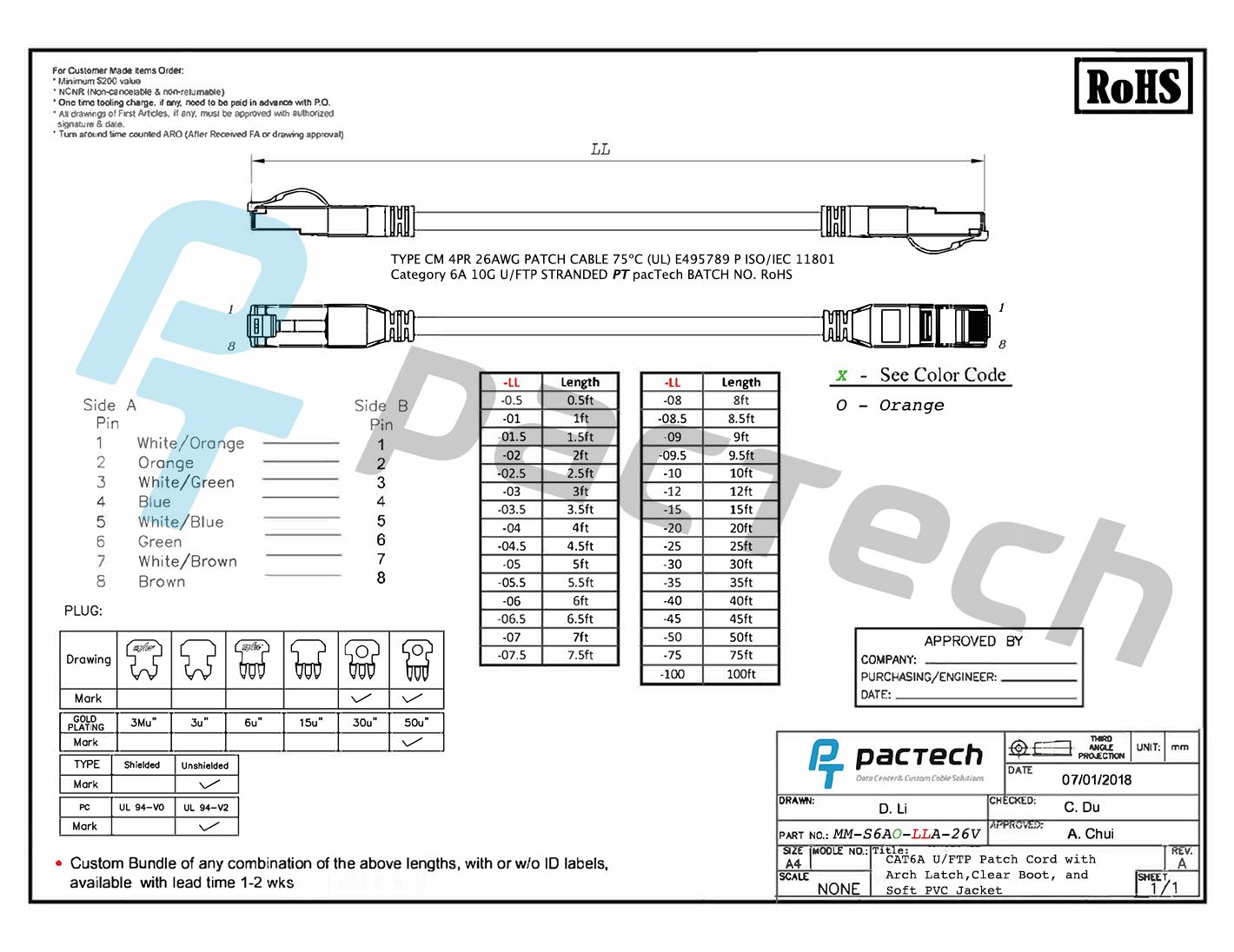 Arch Latch Rj45 Connectors Cat6a Soft Pvc Cable
