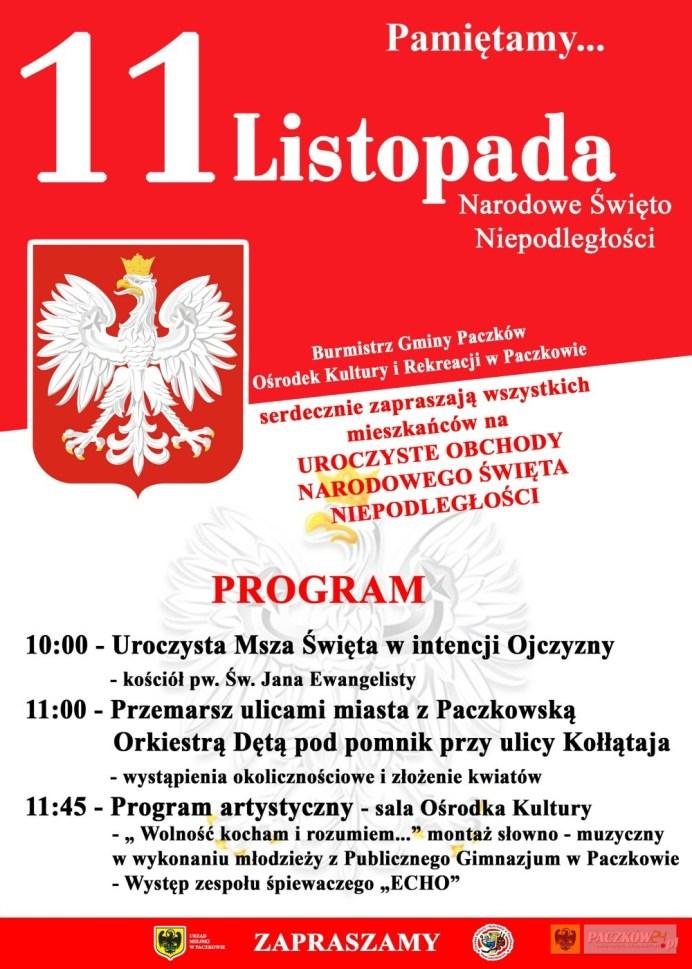 Program obchodów Narodowego Święta Niepodległości w Paczkowie