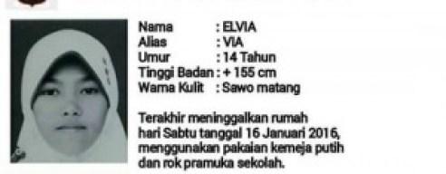 Elvia yang dilaporkan menghilang sejak Sabtu pekan lalu. (fajar)