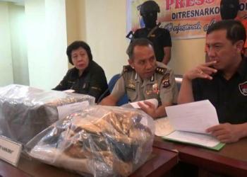 Polda Sumbar, Kamis (30/3) merilis hasil penangkapan narkoba di Kecamatan Batang Anai Kabupaten Padangpariaman yang berhasil mengamankan tersangka bersama 7,33 kg ganja pada Senin (27/3) lalu. (dio)