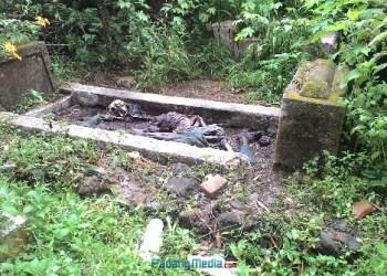 Penemuan kerangka manusia di atas makam. (fajar)