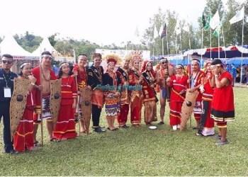 Peserta dari Mentawai pada Jambore Pemuda Indonesia di Sawahlunto. (ers)