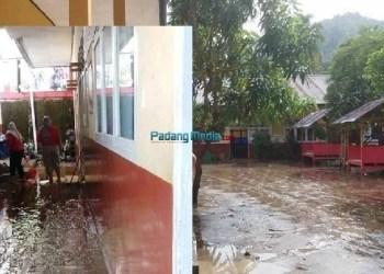 SD 08 Rumbio Silungkang Kota Sawahlunto yang diterjang air dan lumpur akibat luapan Batang Lasi Silungkang, Minggu (10/12). (tumpak)