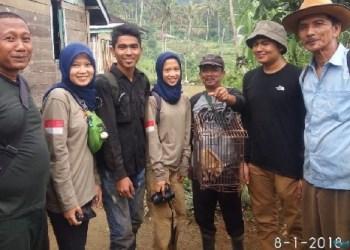 Warga Jorong Data Simpang Dingin, Nagari Paninjauan Agam bersama mahasiswa Kehutanan UMSB dan petugas BKSDA saat akan melepaskan kukang ke habita aslinya kembali. (fajar)