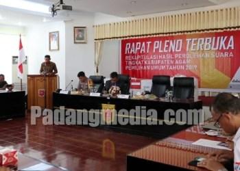 Pleno rekapitulasi suara di KPU Kab.Agam. (fajar)