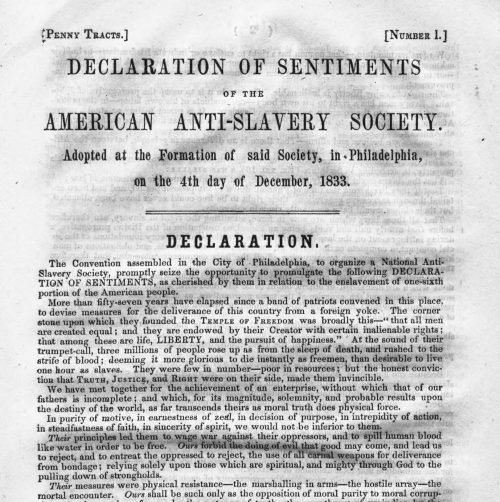 Cover of Declaration of Sentiments of the American Anti-Slavery Society. Adopted at the Formation of said Society, in Philadelphia, on the 4th Day of December, 1833