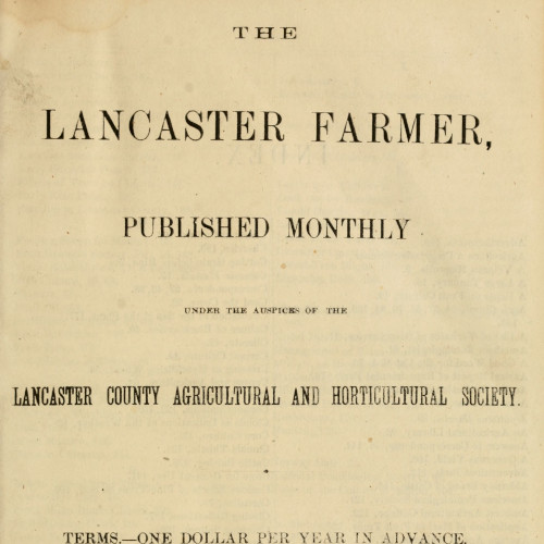 Title Page of Lancaster Farming, Volume 1