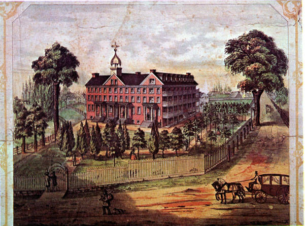 Color illustration depicting Lancaster Normal School, 1857.