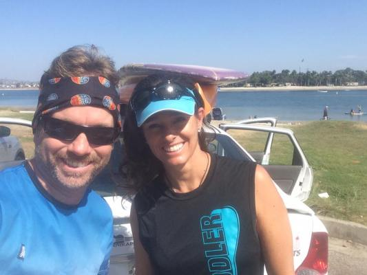 Cali Paddler's Clarke with Paddlechica's Kristin wearing each other's apparel