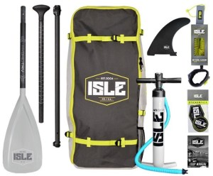 ISLE Airtech Explorer Inflatable Stand Up Paddle Board - package kit pump bagpack leash