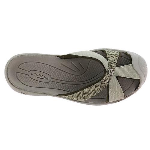 Women's Keen Bali Flip Flop   Agate Grey Dark Olive   Top View