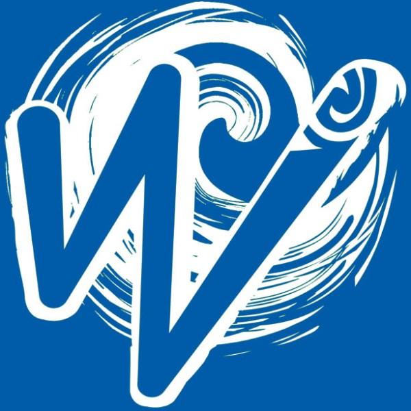 White Waka Splash Emblem | Blue Background