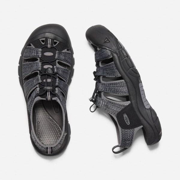 Keen Men's Newport H2 Sandal | Black/Steel Grey | Top View