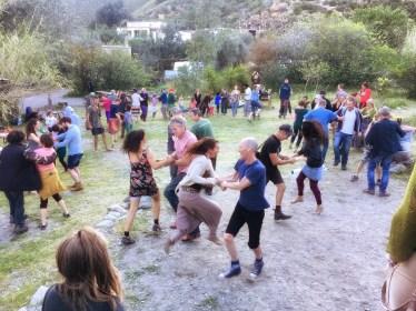 People ceilidh dancing in Orgiva, Andalucia, Spain