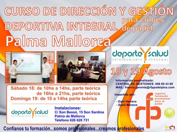curso direccion mallorca Curso Dirección y gestión deportiva integral para clubes de #padel. Palma de Mallorca.