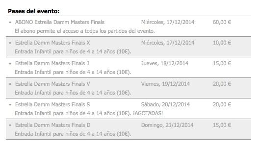 Master World Padel Tour 2014 Entradas Guía Máster World Padel Tour Masculino 2014