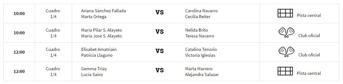 Horarios cuartos femeninos WPT Santander 2017 Horarios y enfrentamientos cuartos de final World Padel Tour Santander 2017