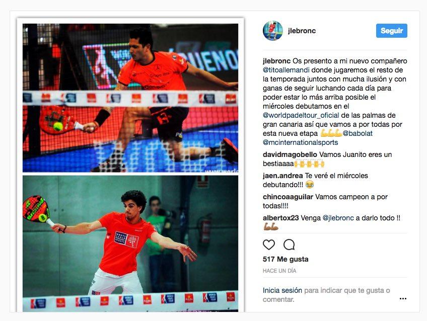 Allemandi Lebron instagram Juan Lebrón - Tito Allemandi, nueva pareja World Padel Tour 2017
