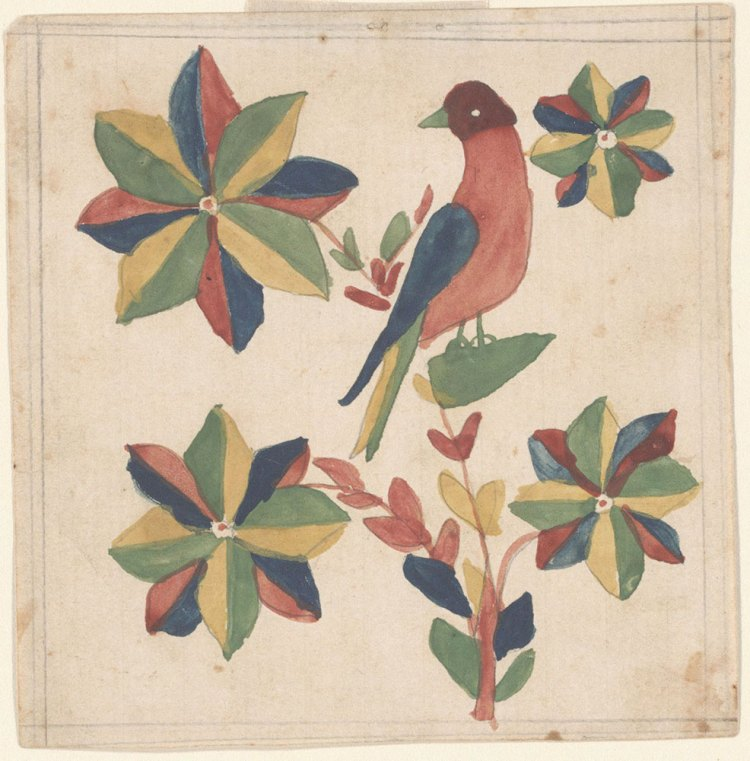 Watercolor illustration of bird and flowers