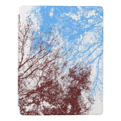 Abstract tree branches burgundy blue iPad case