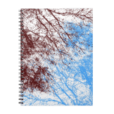 Abstract tree branches burgundy blue notebook