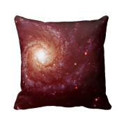 Messier 74 galaxy red tints pillow