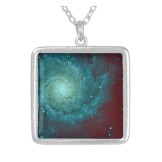 Galaxy photograph red green tints pendant