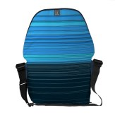 abstract horizontal lines design in blue messenger bag