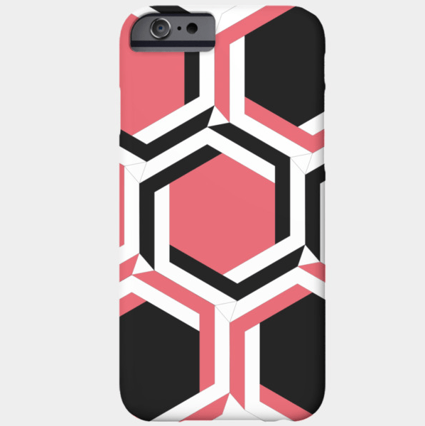 black-and-red-geometric-beehive-phone-case