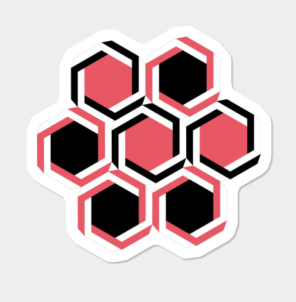 black-and-red-geometric-beehive-sticker