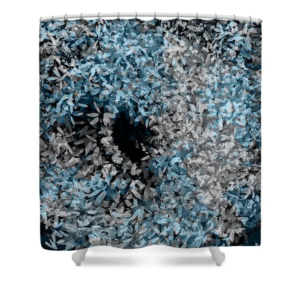 blue and gray floral swirl shower curtain