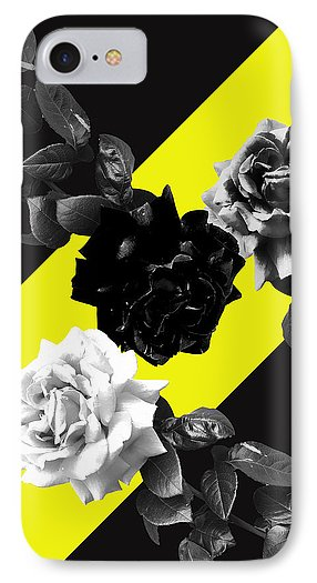 Monochrome roses on yellow phone case